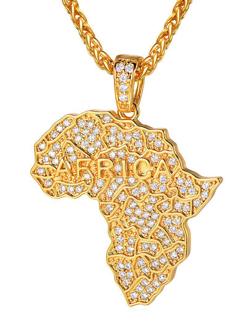 Discount Zircon Inlaid Map Chain Pendant Necklace