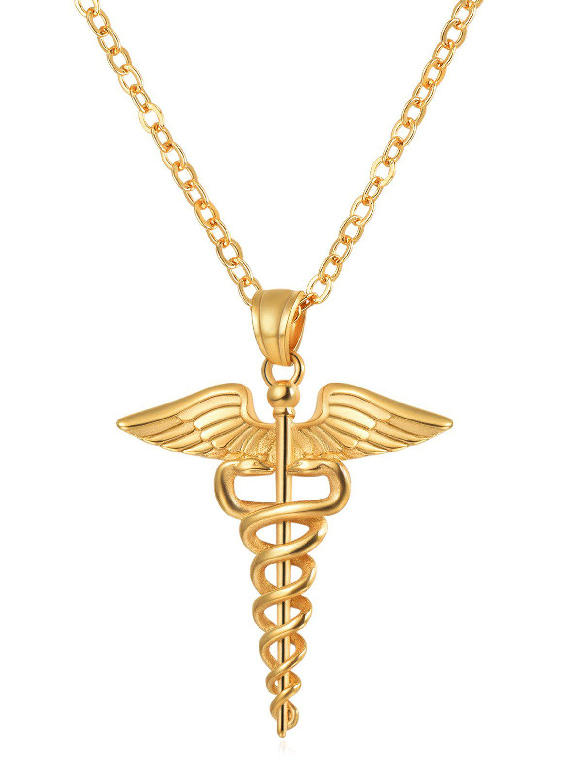 Store Wings and Snake Printed Metal Necklace
