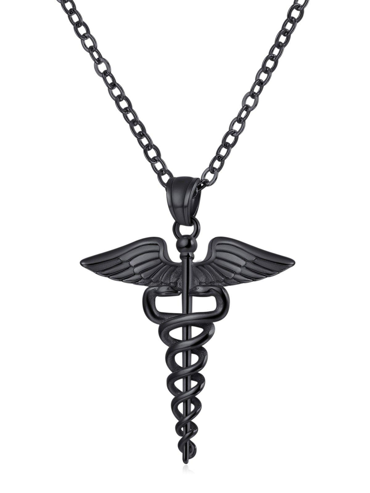 Trendy Wings and Snake Printed Metal Necklace