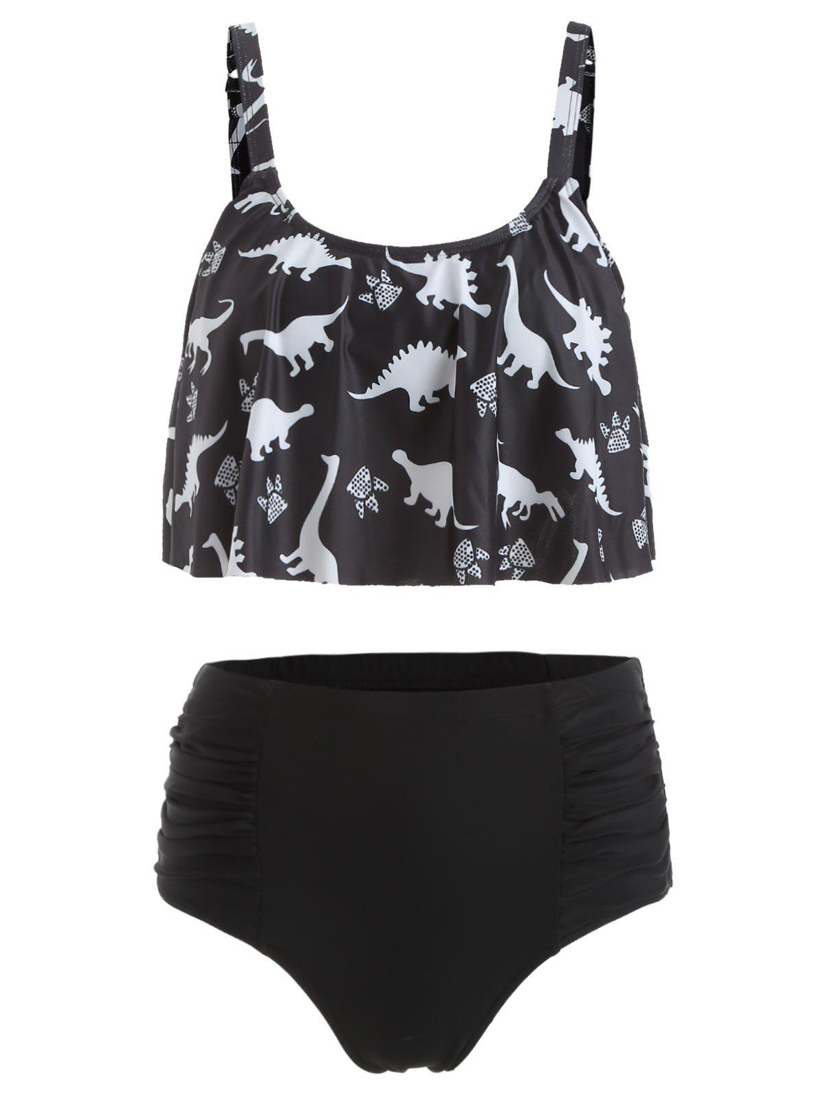 Outfits Dinosaur Print Ruched High Waist Bikini Set