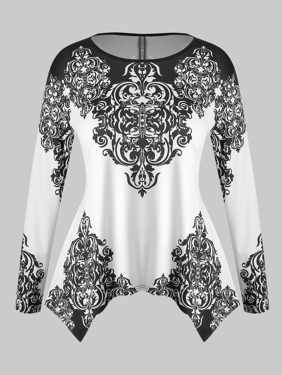 Trendy Plus Size Long Sleeves Tribal Printed Contrast Tee