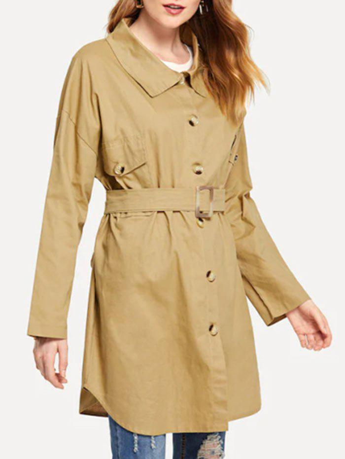 Best Single Breasted  Drop Shoulder Trench Coat