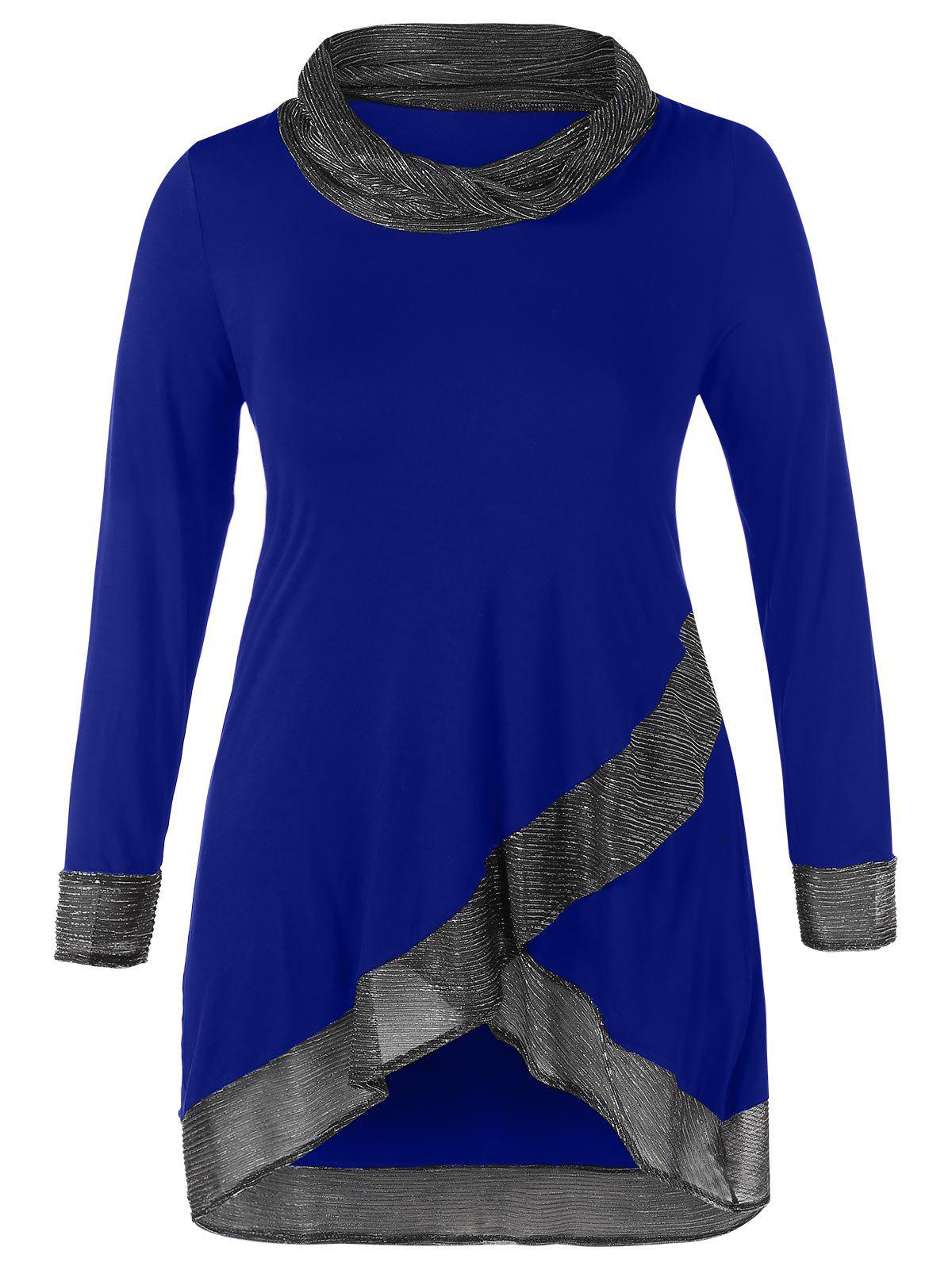 Buy Cowl Neck Thread Plus Size Tunic Top