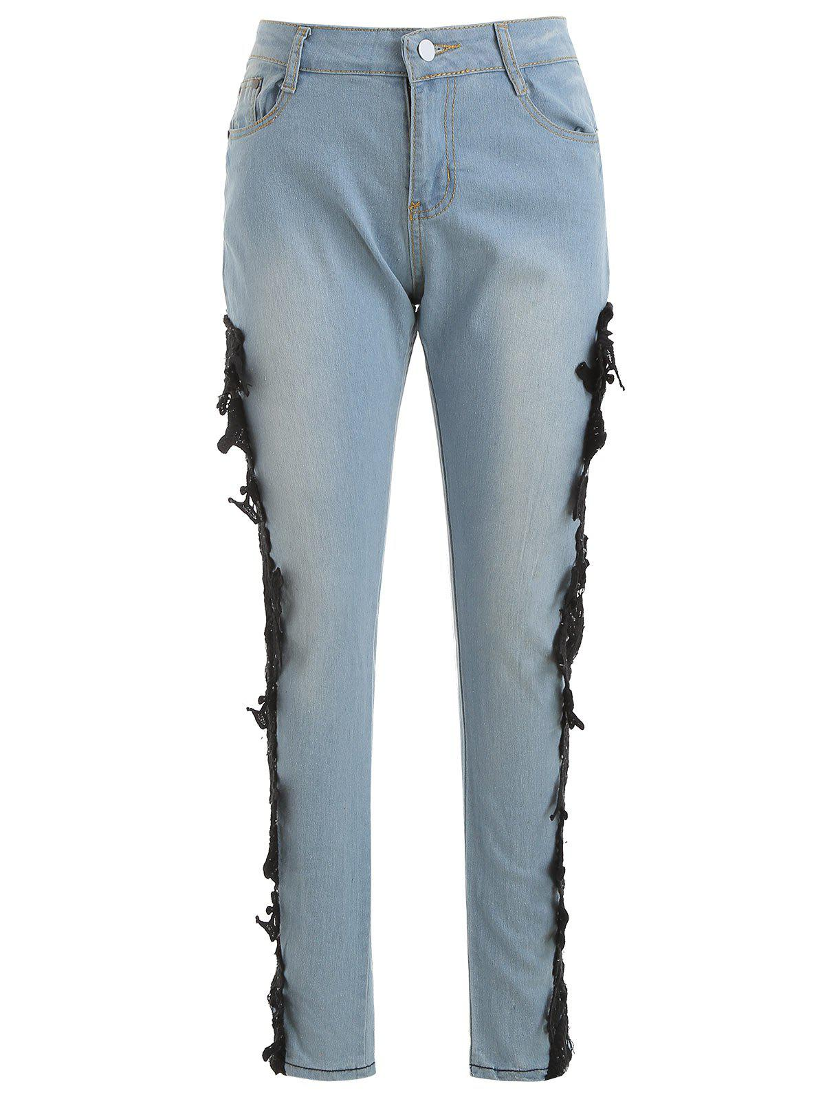 Buy Lace Panel Skinny Jeans