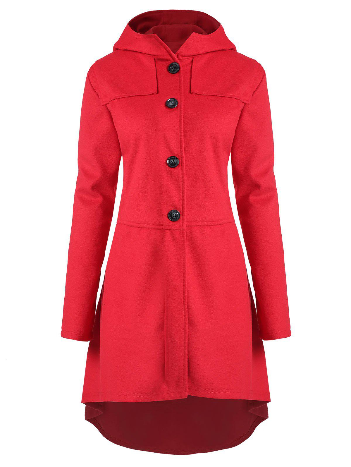 Trendy Plus Size High Low Hooded Coat with Button Fly
