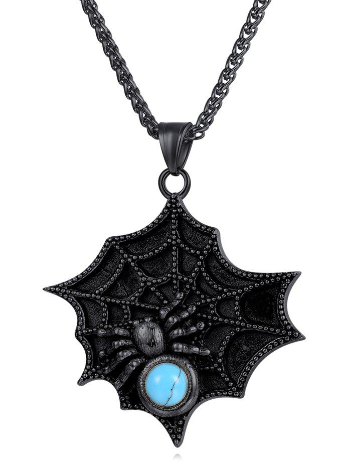 New Faux Turquoise Decor Spider Web Necklace