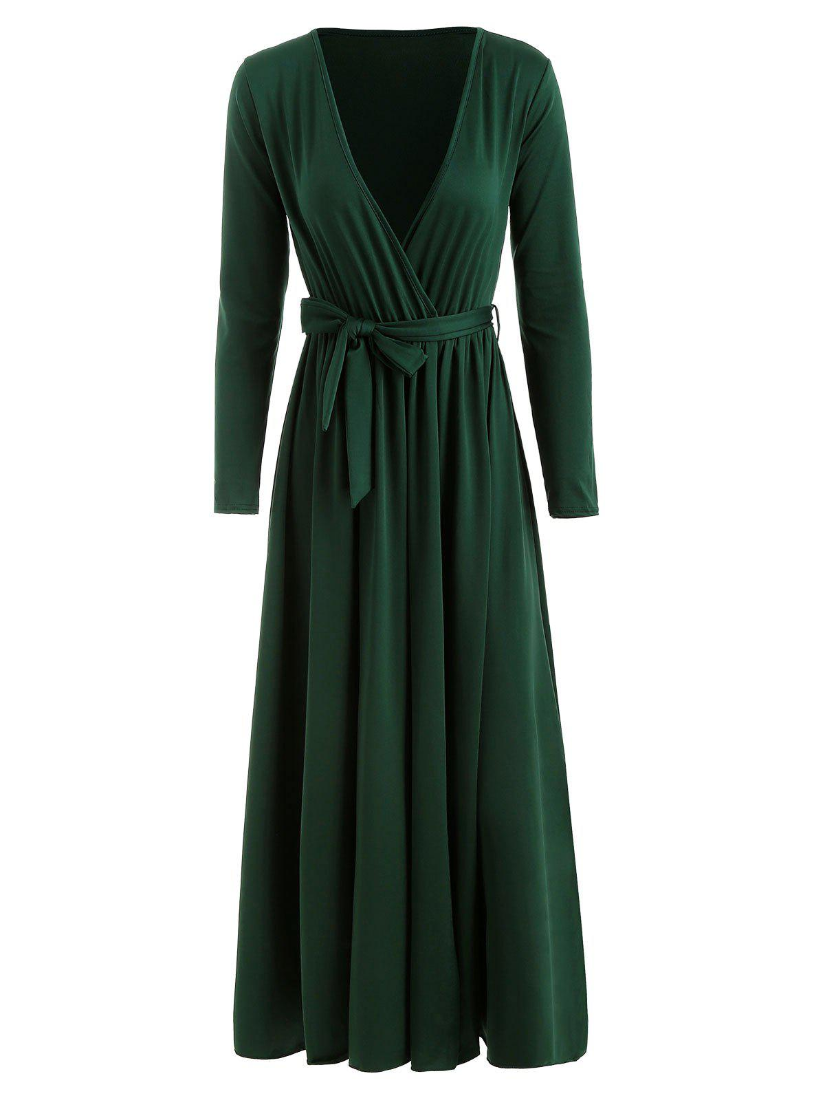 Discount High Split Plunging Neckline Maxi Dress