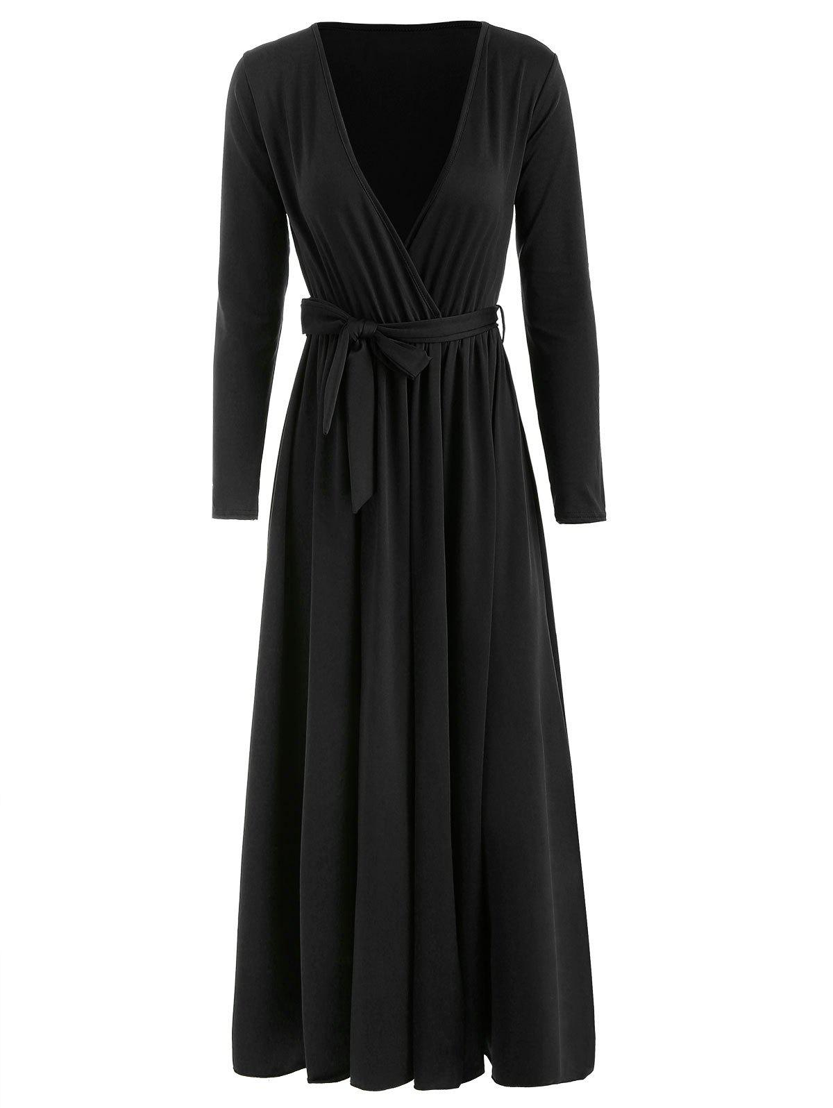 Outfit High Split Plunging Neckline Maxi Dress