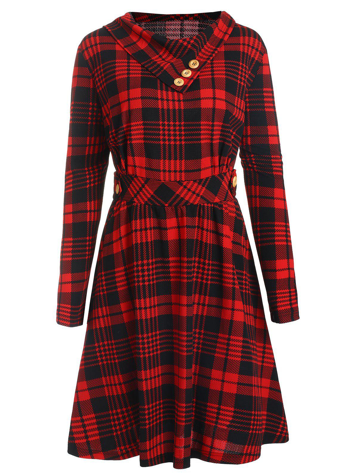 Store Plus Size Long Sleeves Plaid Flare Dress with Buttons
