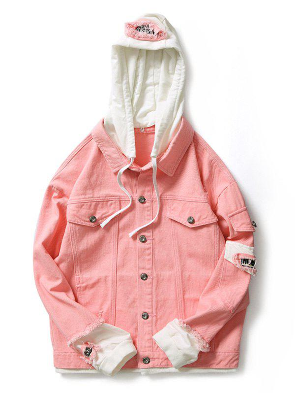 Outfit Faux Two Pieces Letter Number Applique Hoodie Jacket