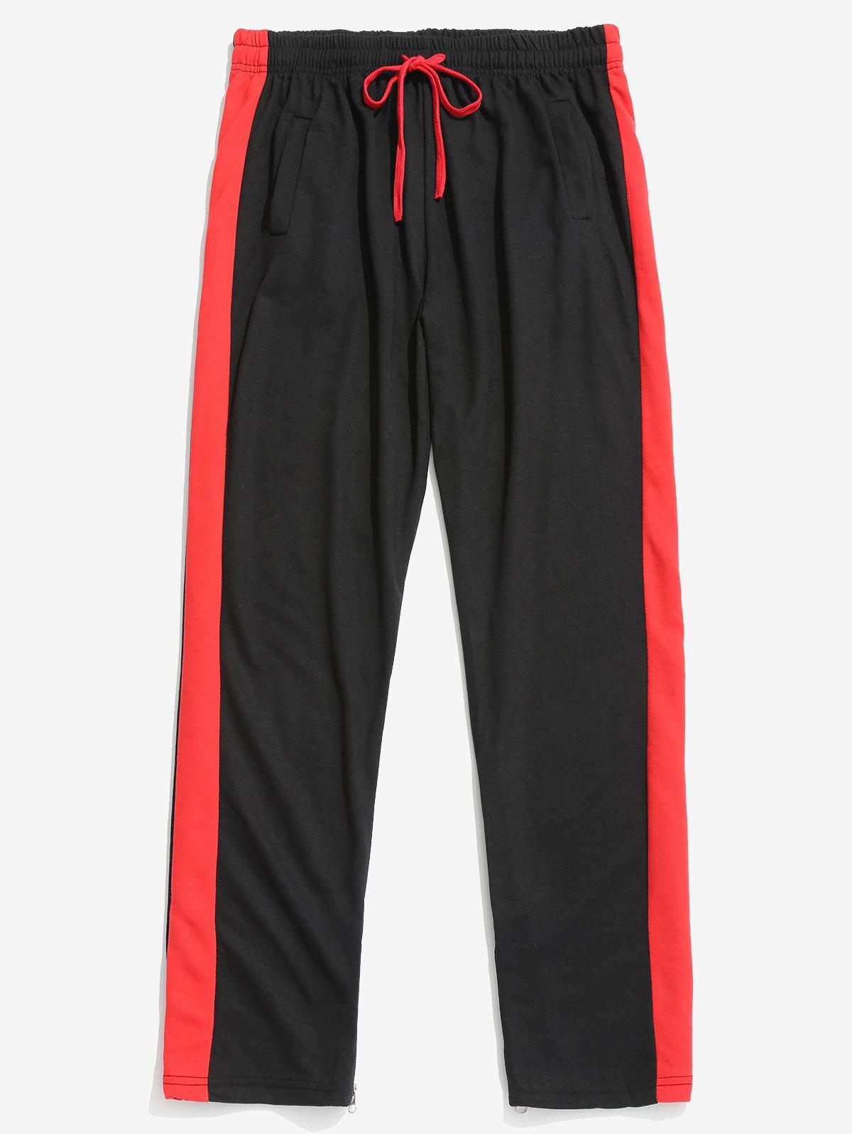 Cheap Two Tones Side Striped Patch Sports Pants