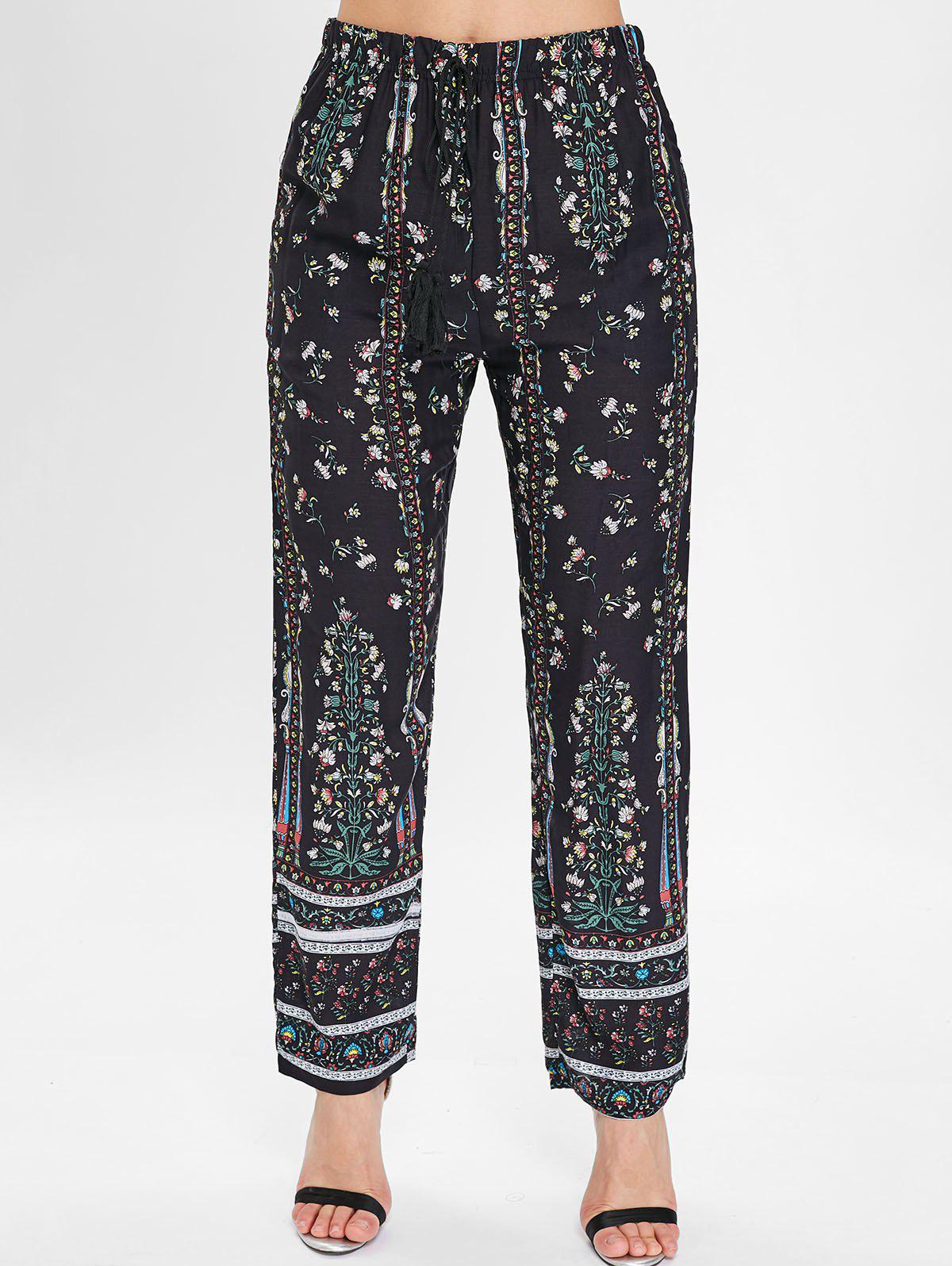 Chic Drawstring Floral Print Sleeping Pants