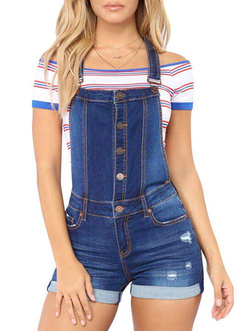 Affordable Button Fly Ripped Short Denim Romper