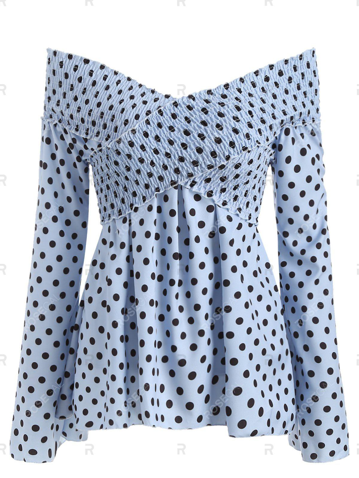 Discount Criss Cross Smocked Polka Dot Blouse