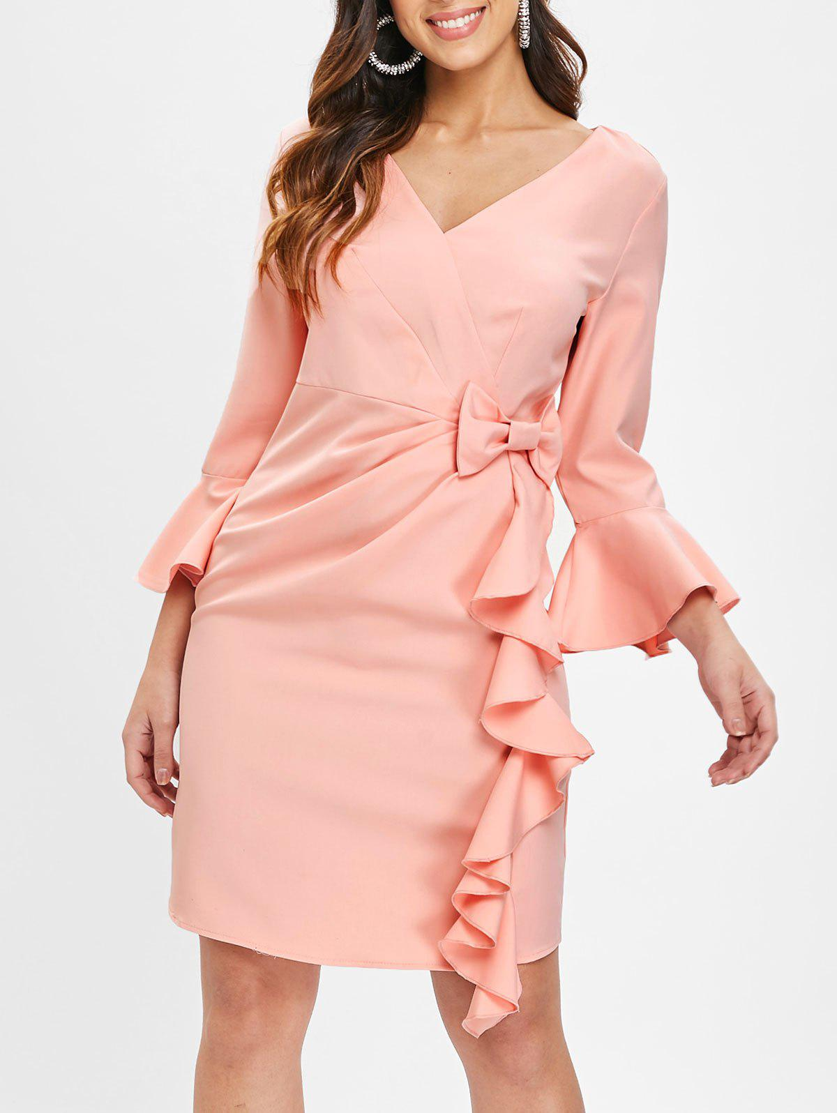 Outfits Flare Sleeve Bowknot Ruffle Dress