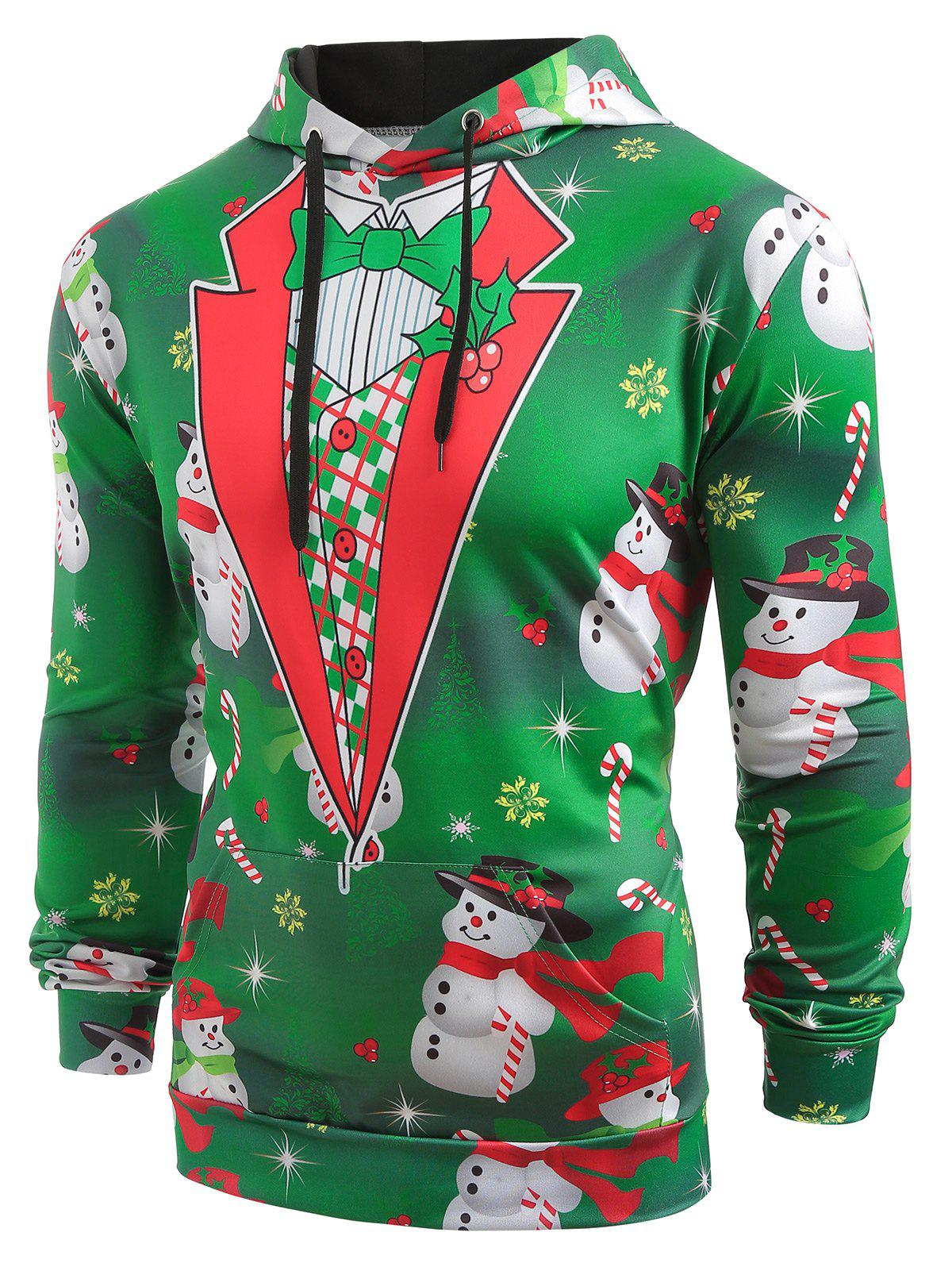 Discount Faux Collar Snowmen Candy Printed Christmas Hoodie