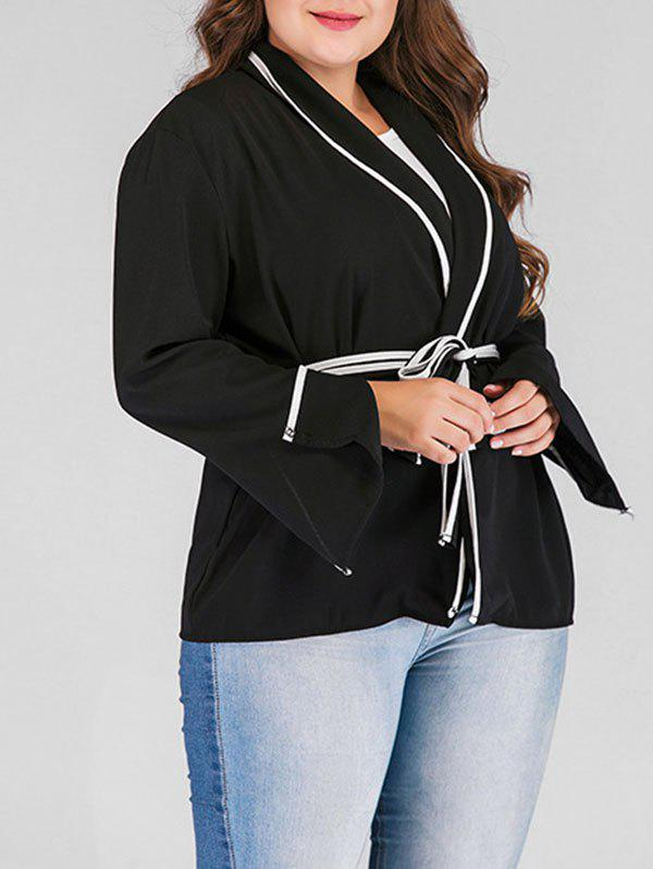 Unique Plus Size Contrast Wrap Coat with Slit