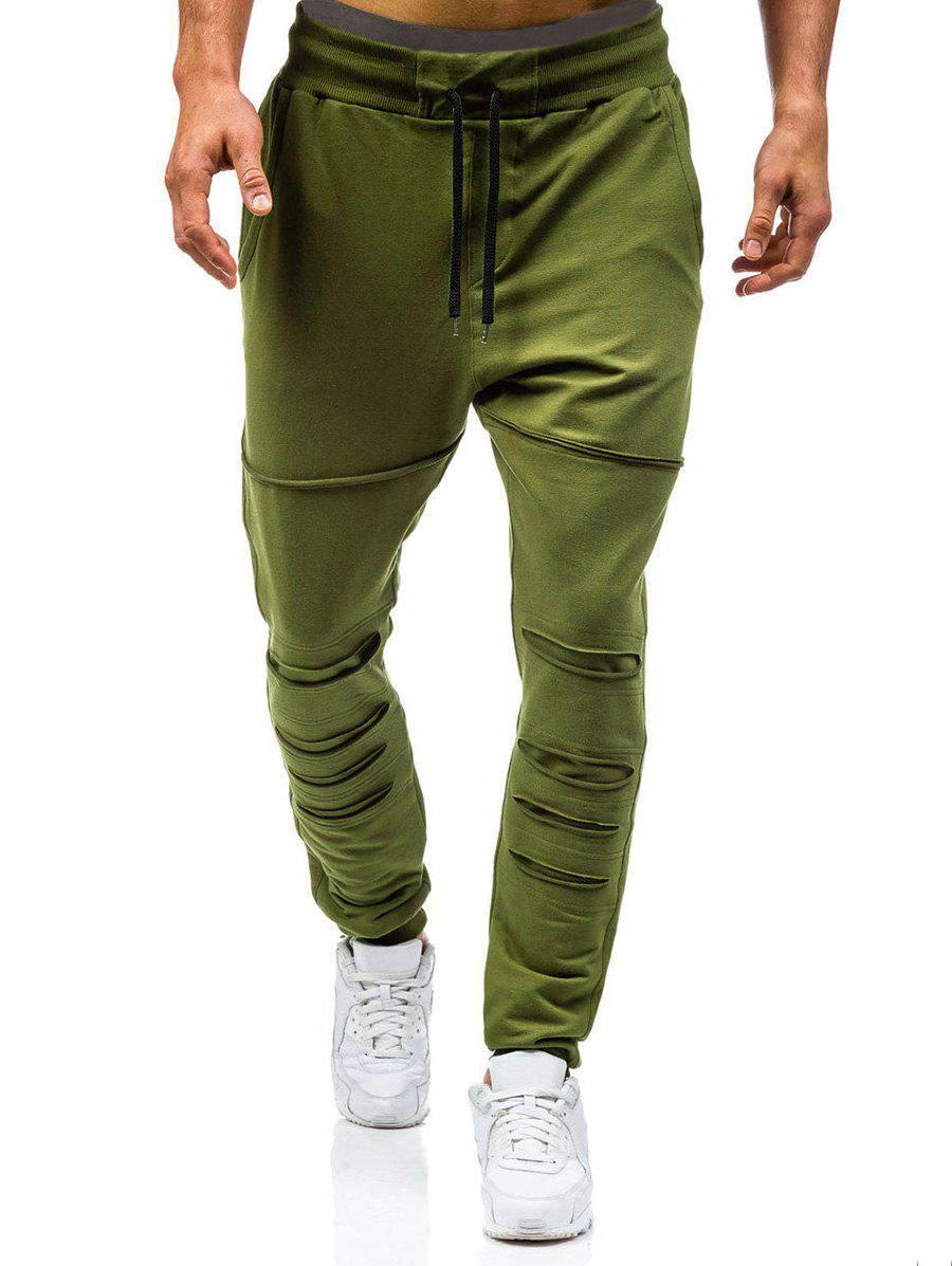 Hot Drawstring Elastic Casual Ripped Jogger Pants