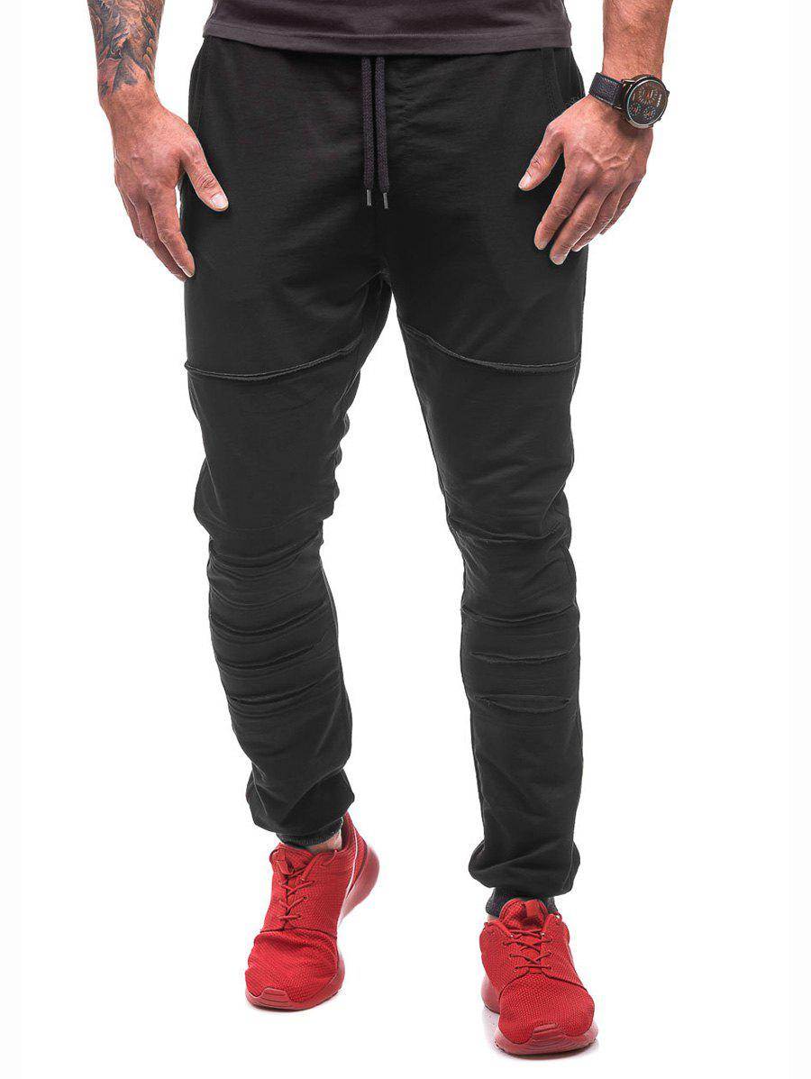 Online Drawstring Elastic Casual Ripped Jogger Pants