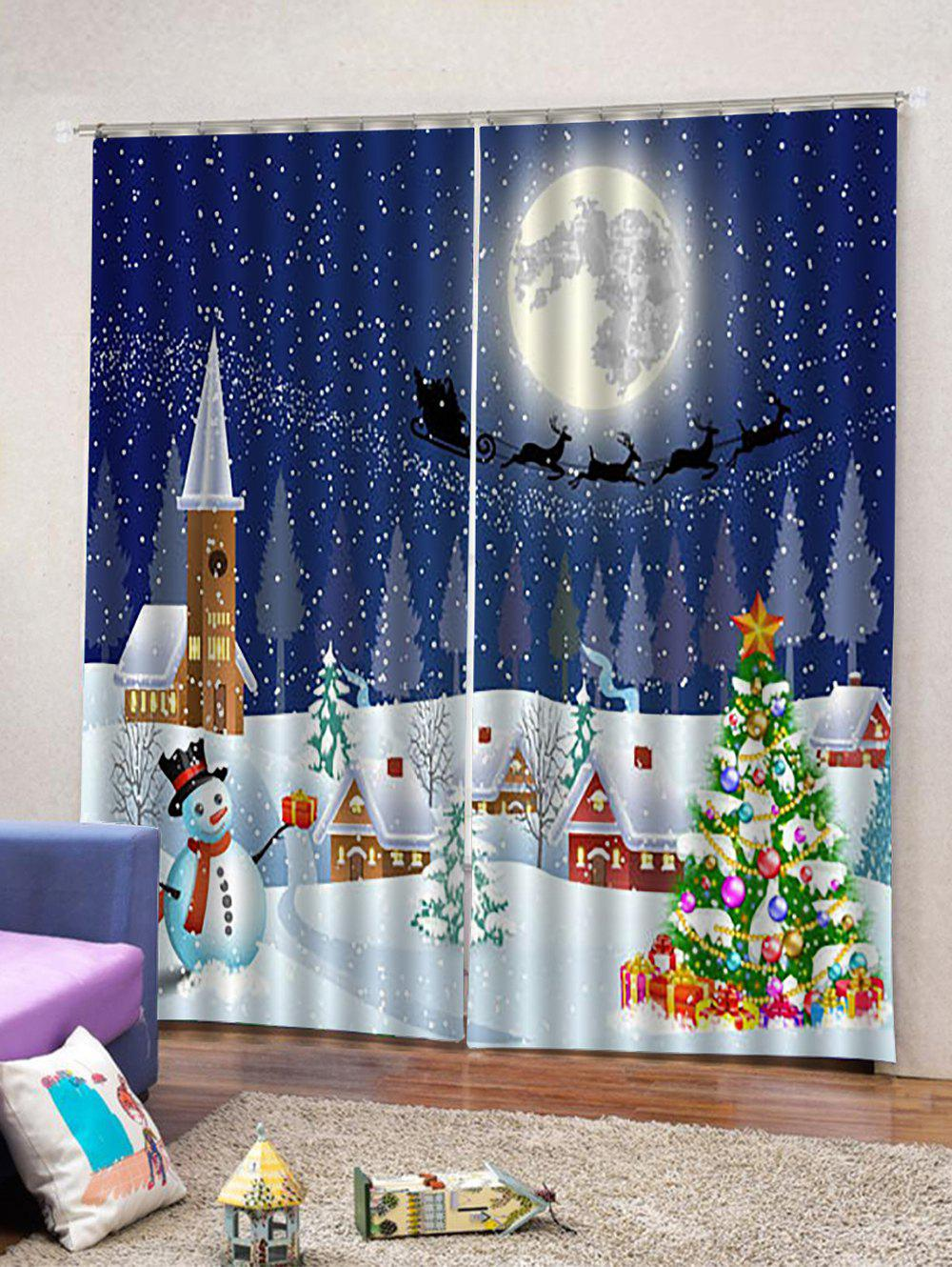 Outfits 2PCS Christmas Town Scenery Pattern Window Curtain