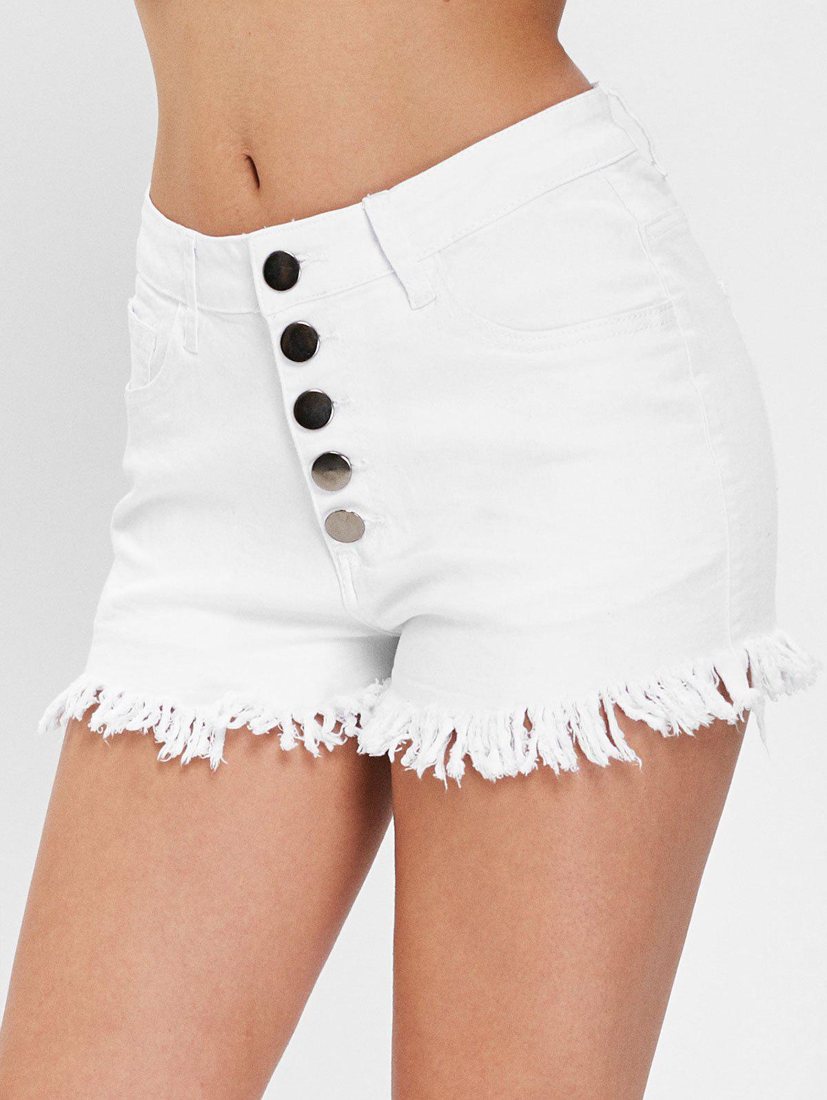 Fashion Button Fly Frayed Trim Jeans Shorts