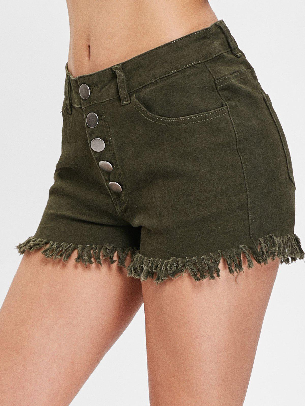 Store Button Fly Frayed Trim Jeans Shorts