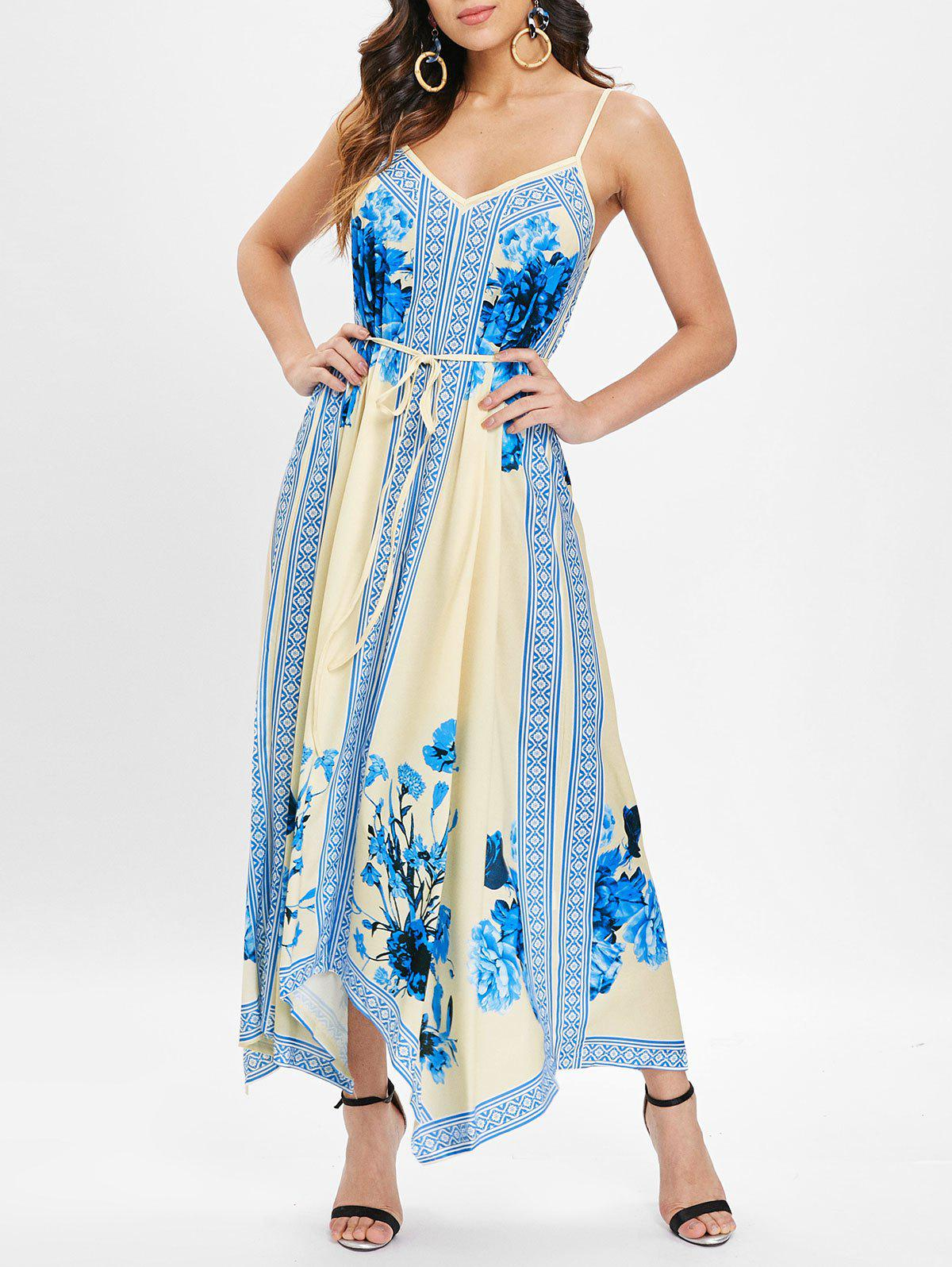 Fancy Ethnic Print Asymmetrical Maxi Cami Dress