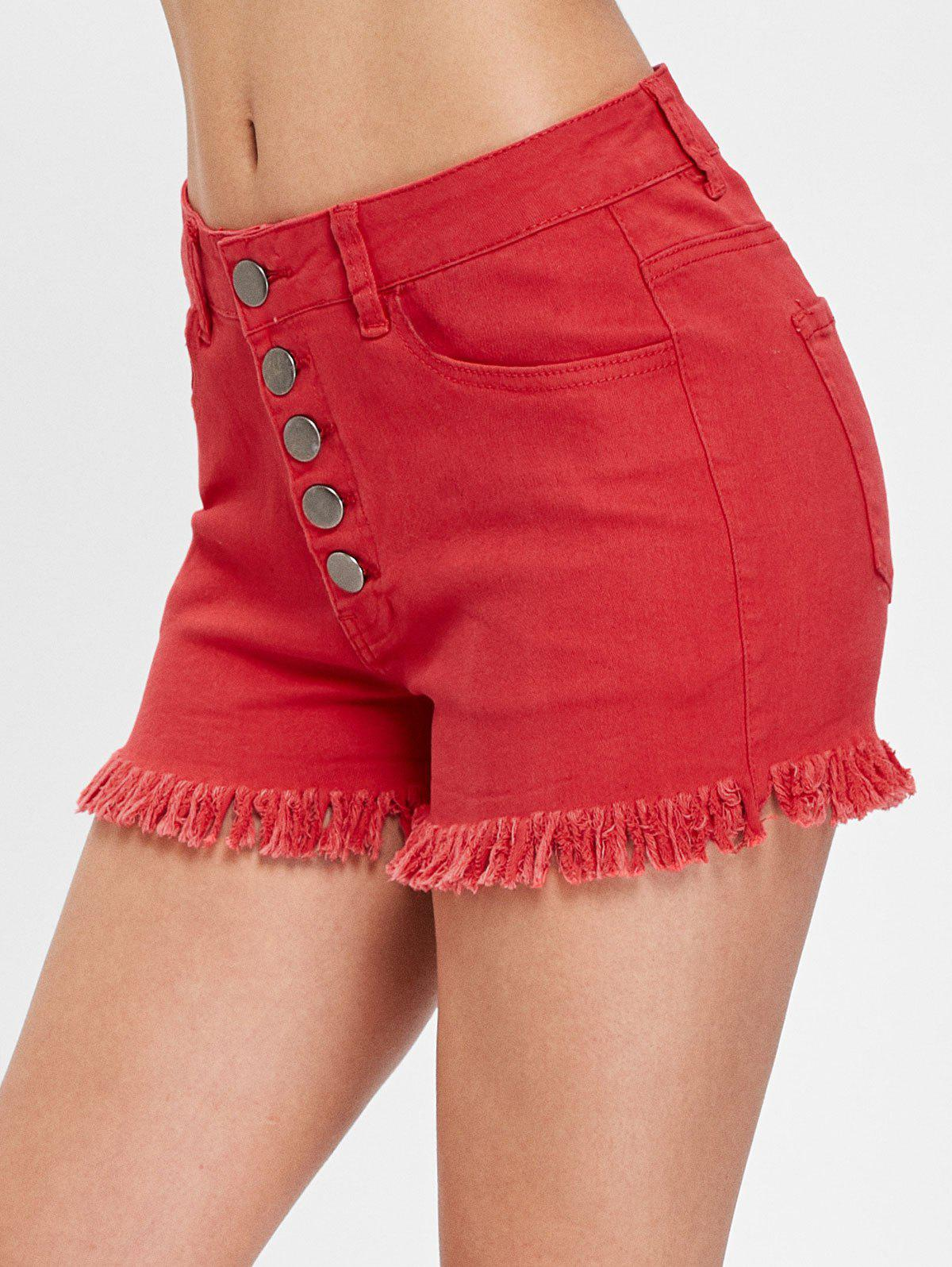 Button Fly Frayed Trim Jeans Shorts