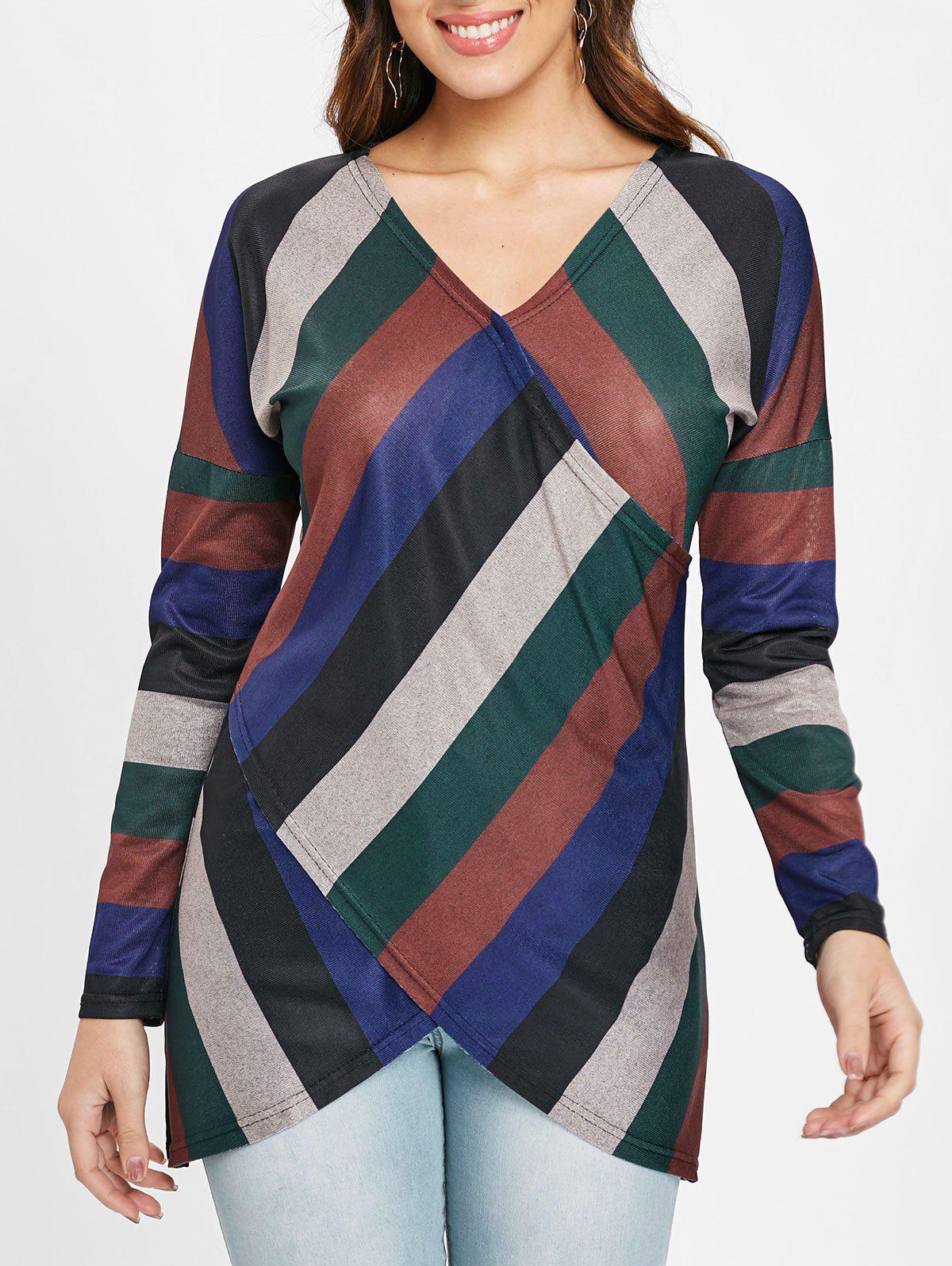 Store Drop Shoulder Striped Crossover T-shirt