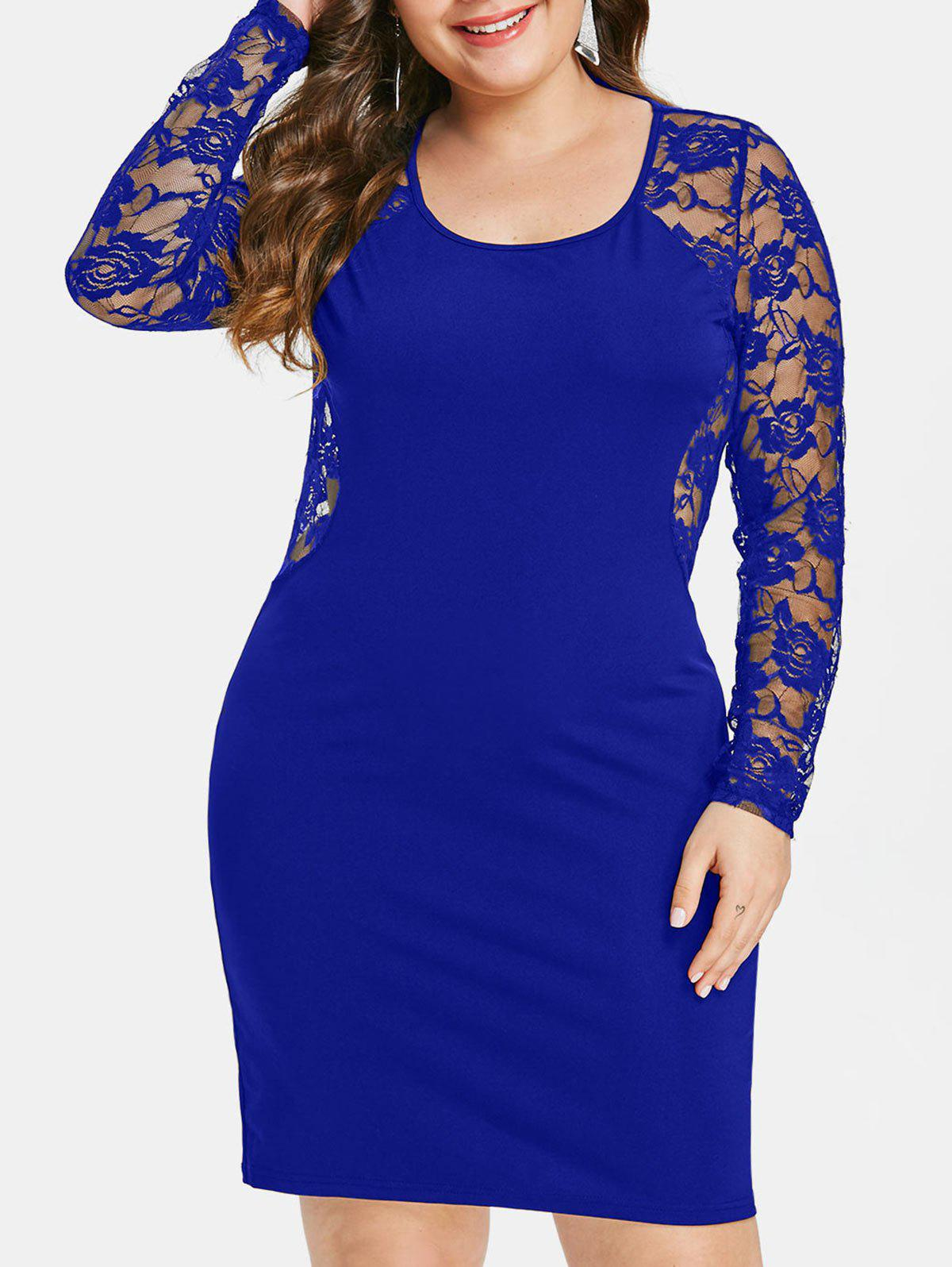 Plus Size See Through Lace Insert Bodycon Dress