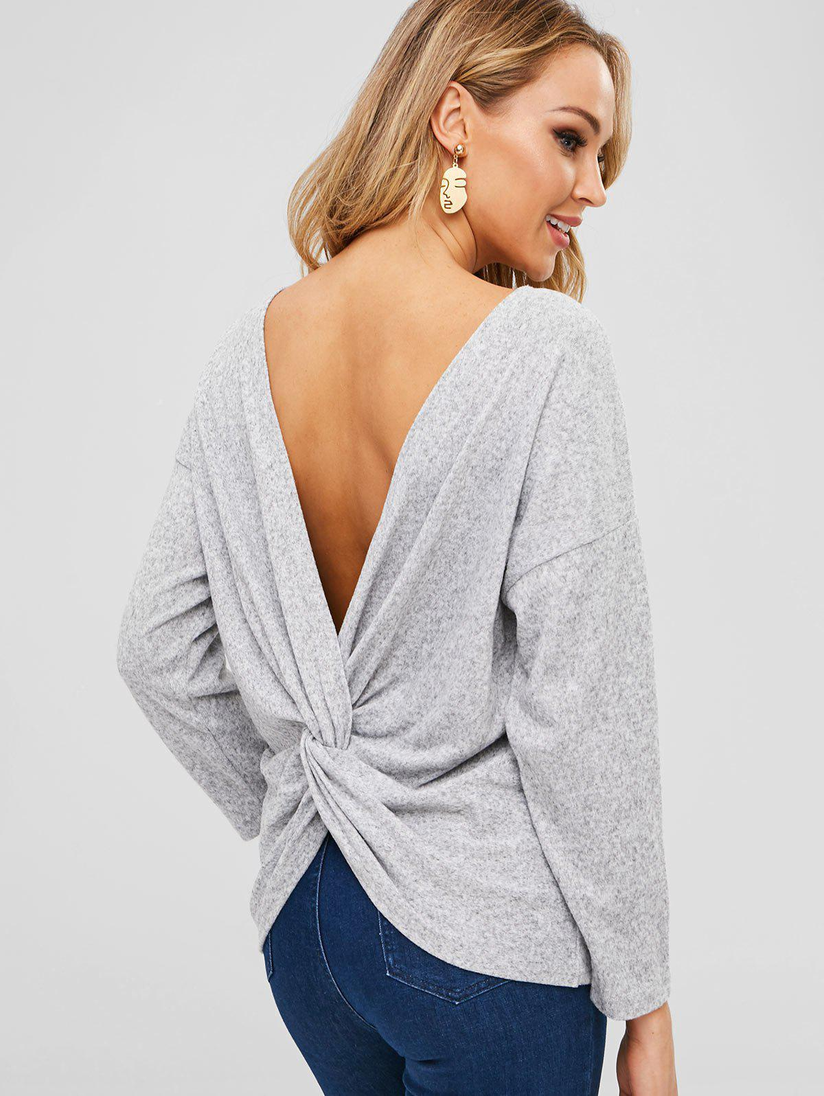 Latest Heathered Twist Open Back Sweater