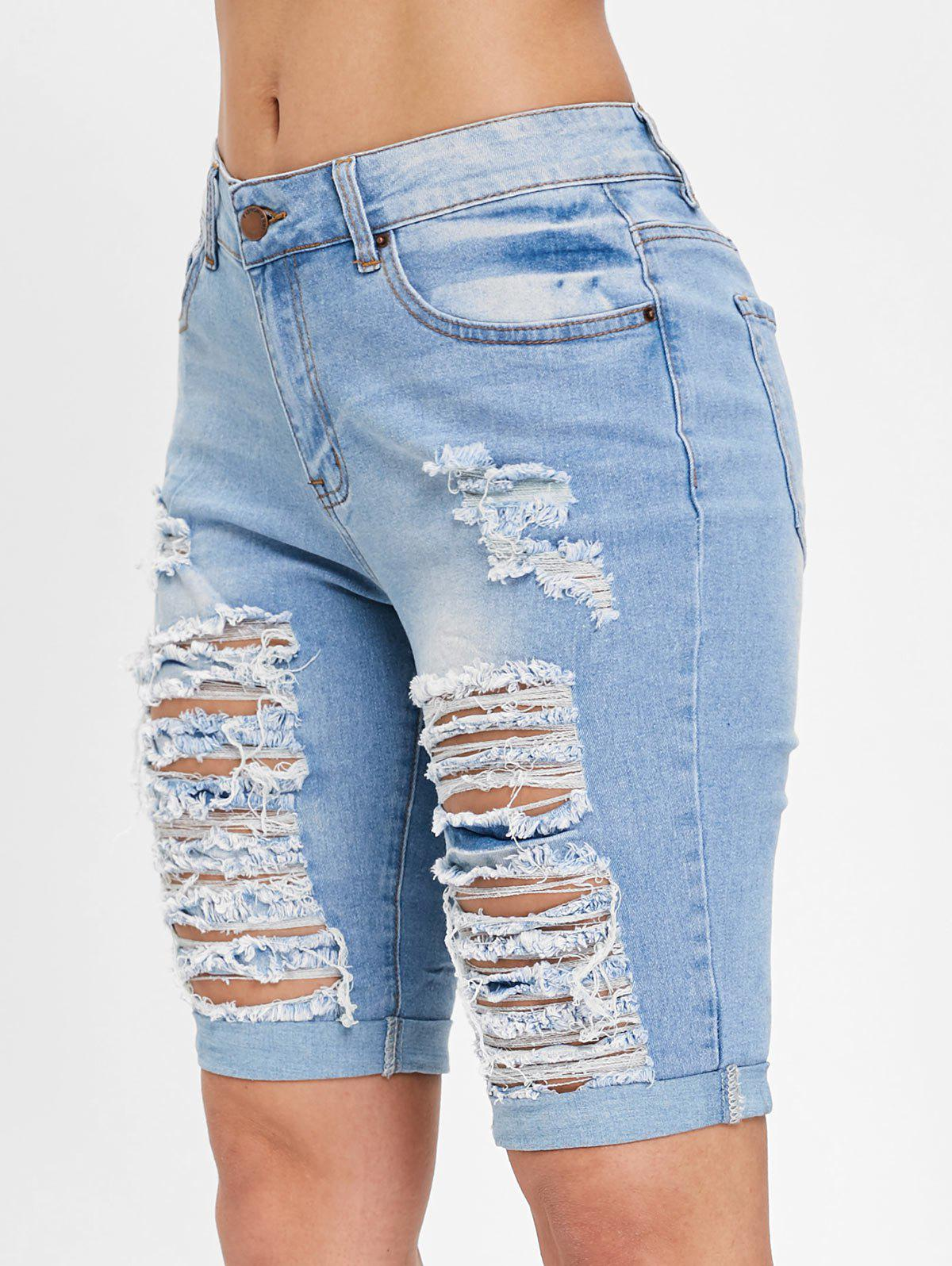 Best Ripped Knee Length Jean Shorts