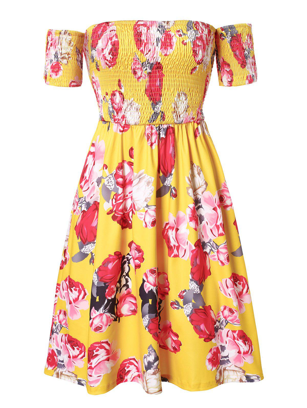 Discount Plus Size Off Shoulder Smocked Floral Flare Dress