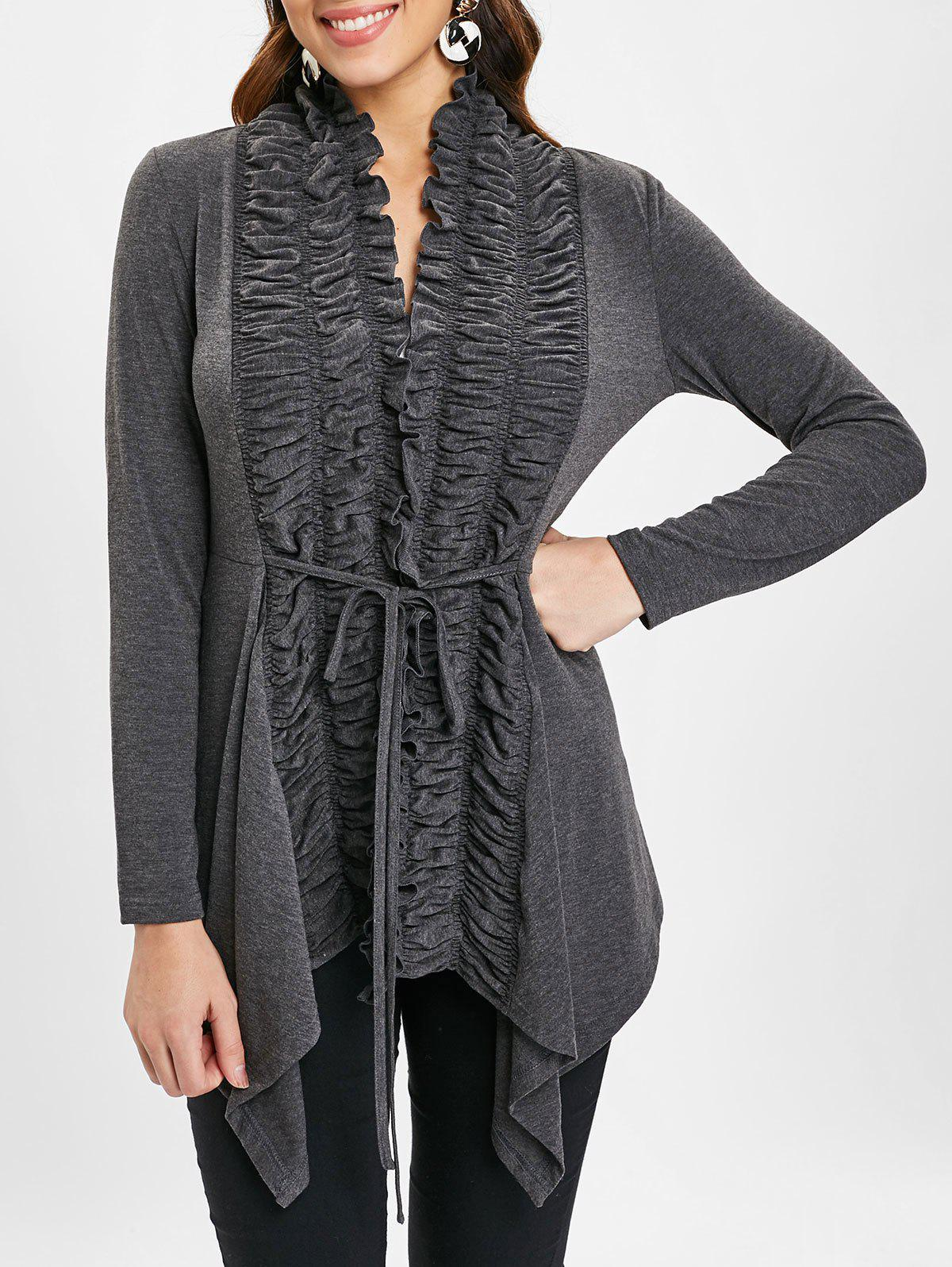Outfits Open Front Ruffles Asymmetrical Cardigan