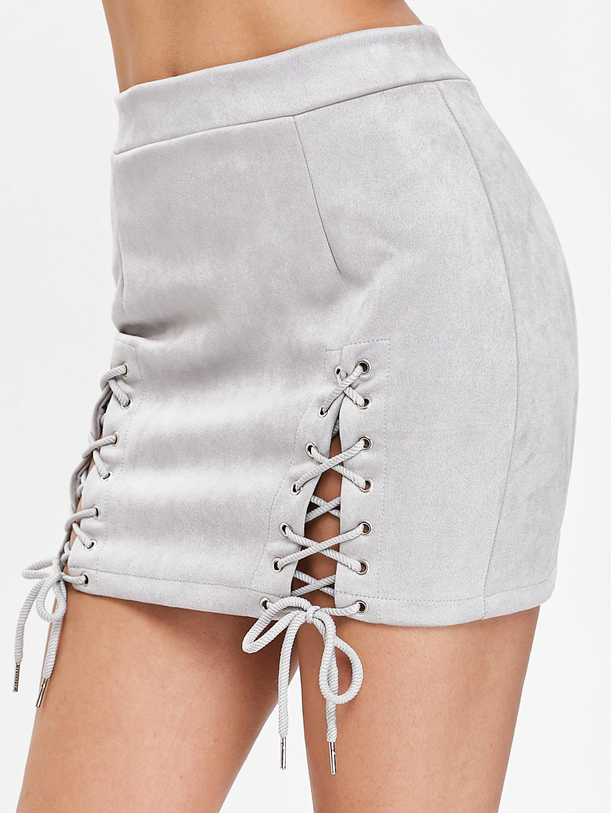 Affordable Faux Suede Lace Up Skirt