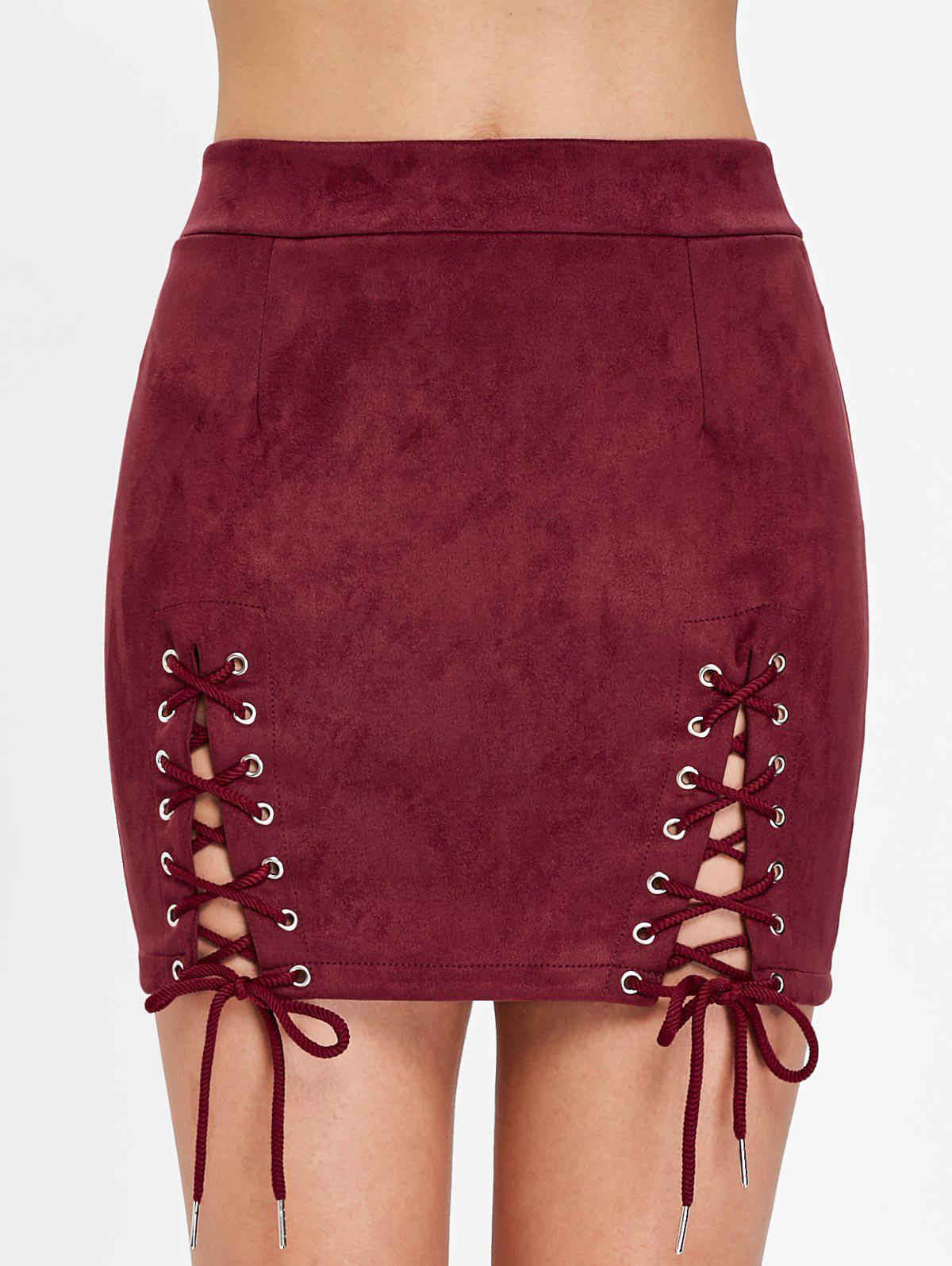 Trendy Faux Suede Lace Up Skirt