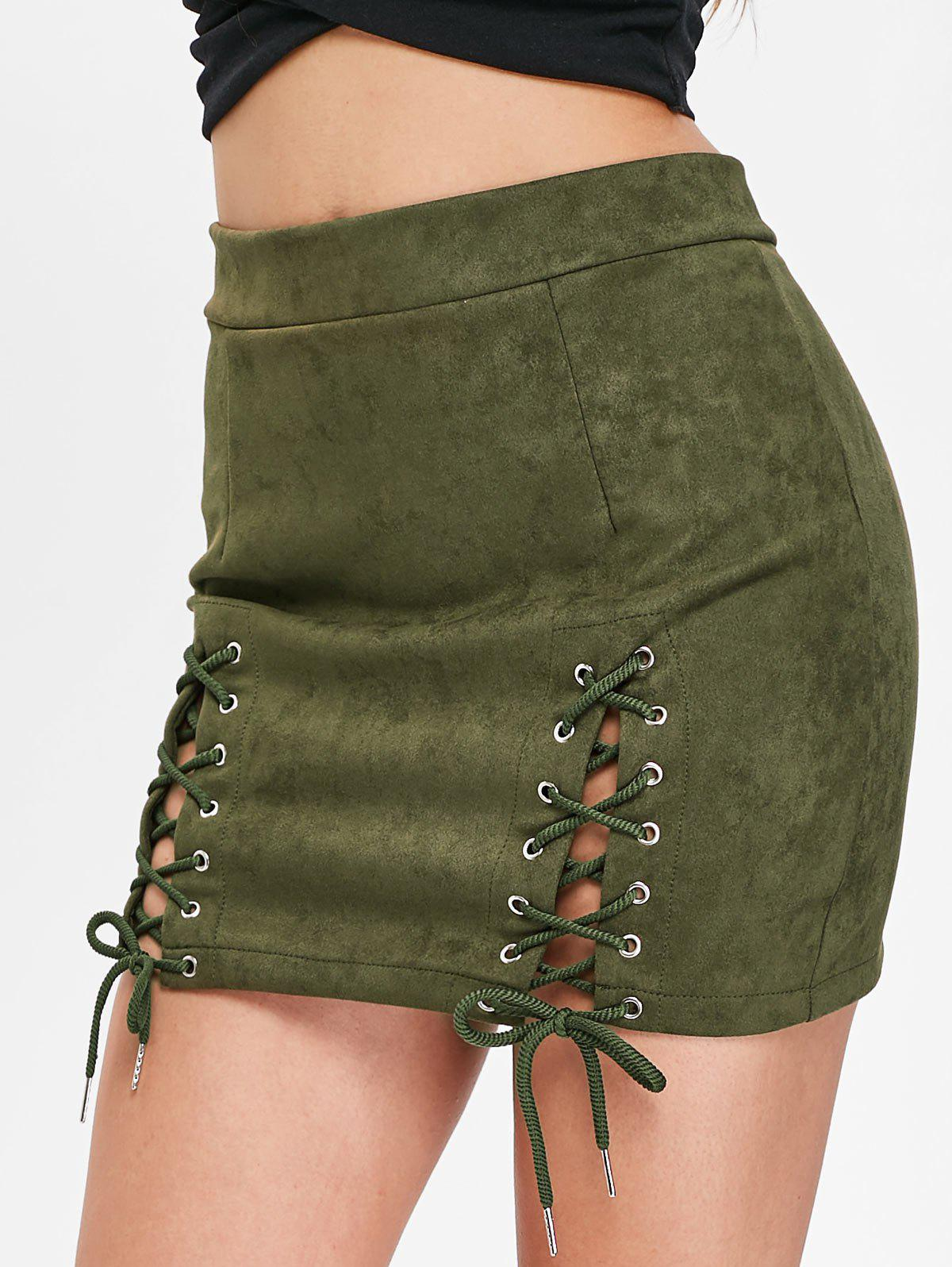 Store Faux Suede Lace Up Skirt