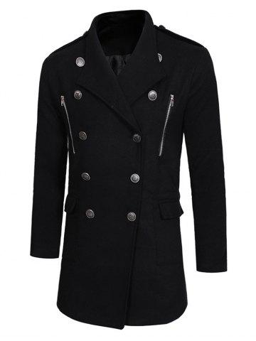 Double Breasted Zipper Decor Trench Woolen Coat