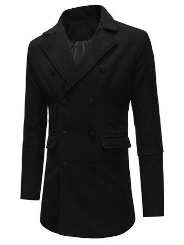 Double Breasted Back Split Pocket Woolen Trench Coat
