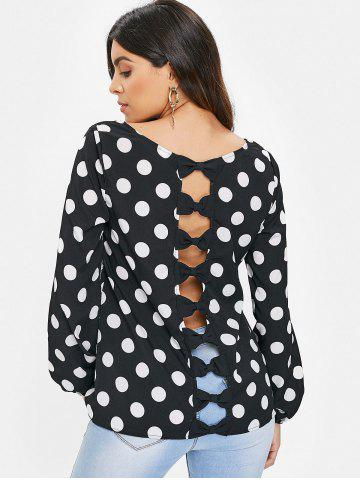 Plus Size Bowknot Cut Out Dotted Blouse