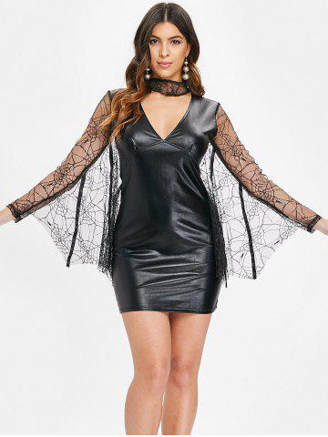 Lace Batwing Short Faux Leather Dress