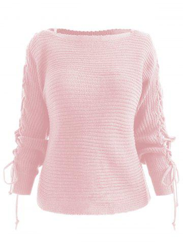 Lace Up Pullover Sweater - Free Shipping 5af6ba273