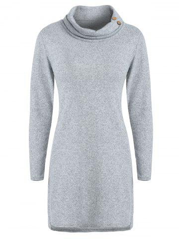 Cowl Neck Buttoned Sweater Dress