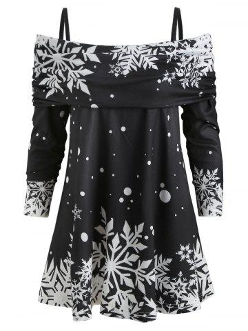 Christmas Snowflake Print Long Sleeve Blouse