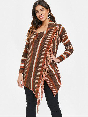 Cowl Neck Asymmetrical Fringe Striped Cardigan