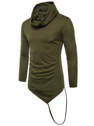 Solid Irregular Hem With A Stripe Cowl Neck T-shirt
