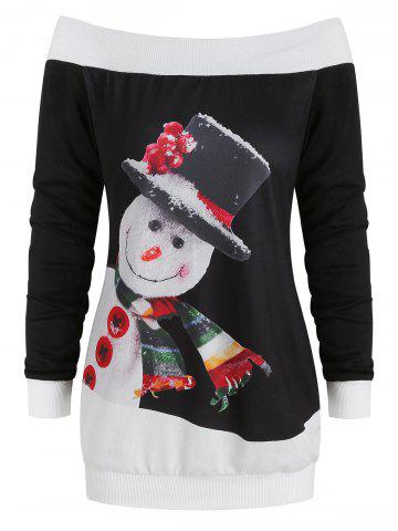 Christmas Snowman Print Off The Shoulder Sweater