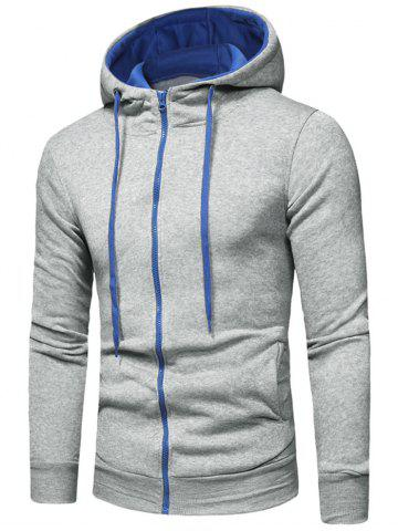 Zipper Color Spliced Slim Fit Hoodie