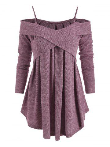 Cold Shoulder Long Sleeve Swing Sweater