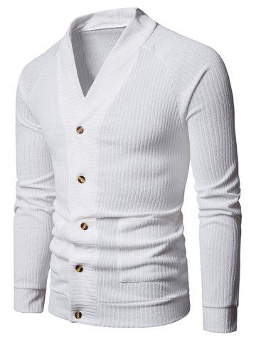 Solid Pocket Button Up Thin Knit Sweater